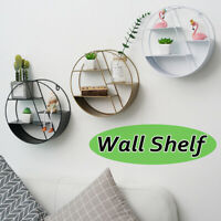 Vintage Industrial Style Round Metal Wall Shelf Rack Craft Wall Shelves Bookcase