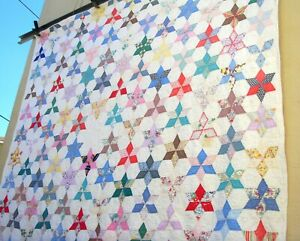 Vintage 30's 40's Six Point Star Quilt Hand stitched for cutter