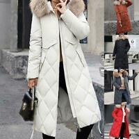 Winter Women Long Down Coat Cotton Parka Warm Fur Collar Quilted Coats Hood T2A9