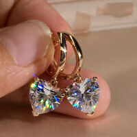 Fashion CZ Heart Zircon Dangle Earrings Crystal Drop Hoop Women Jewelry Gifts