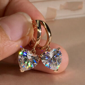 Fashion CZ Heart Zircon Dangle Earrings Crystal Drop Hoop Women Jewelry Gifts