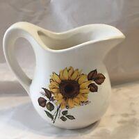 Sunflower McCoy Pottery Small Pitcher USA Vintage