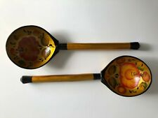 Pair of Russian Khokhloma Painted Spoons