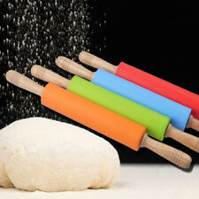 Non-stick Silicone Rolling Pin Dough Wooden Roller Cake Pastry Kitchen Tool
