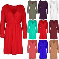Ladies Womens Ruched Cross Over Swing Flared Wrap Front Skater Midi Dress Top