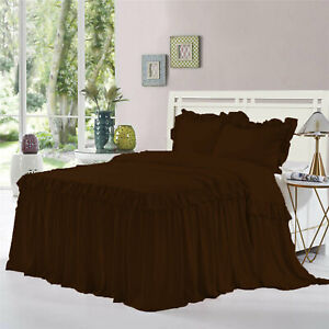 """Double Ruffle Bed Spread/Bed Cover 25"""" drop 800TC Egyptian Cotton ALL SIZE&COLOR"""