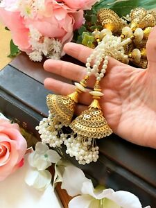 1 Pair Latest Indian White Pearl Bead Gold Cluster Latkan Sari Blouse Duppata