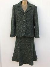 EASTEX Bouclé Jacket & Midi Skirt Suit Size 10 Dark Green Wool Blend WORN ONCE