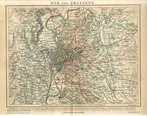 1882 ITALY ROME CITY and SUBURBS Antique Map