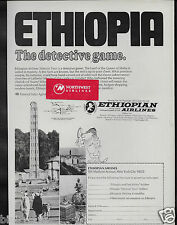 ETHIOPIAN AIRLINES 1970 HISTORIC TOUR DETECTIVE GAME LAND OF QUEEN OF SHEBA AD