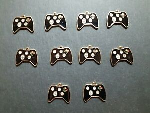 10 x Game Controller, Gaming Console Enamel Charms, 16 x 19 mm, Jewellery Making