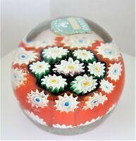 "Vintage Murano Glass Paperweight 2"" Millefiori Colorful Cane Original Sticker"
