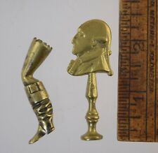 2 ANTIQUE ENGLISH BRASS PIPE TAMPERS LEG w/BOOT & GEORGE III? PROFILE MAN