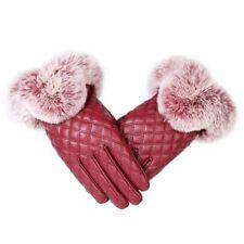 Fashion Women Winter Gloves Leather Warm Thick Elegant Mittens Rabbit Fur Glove