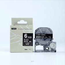 EPSON Compatible LC-2BWV Label Tape White on Black 6mm 8m LW300 LW500 1/4 x 26""