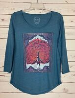 Lucky Brand Women's S Small Blue Pink Bird Graphic Tee Cute Spring Top Shirt