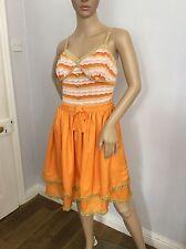 Touch Luxe Designer 100% soie robe d'été très bon état T2. Royaume-Uni Taille 10 orange gold