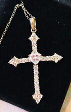 "NIB Victoria Wieck 14K Gold Cross Heart  Cz Necklace 18"" New"