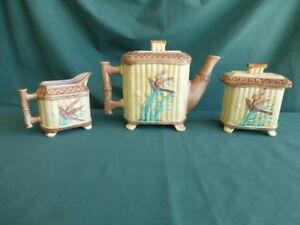 Antique Bird and Iris Majolica Tea Pot, Sugar Bowl, and Cream Pitcher