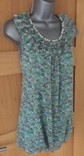 BNWT MISS REAL Beaded Neckline Bubble Hem Floral Aqua Blue Mini DRESS UK Size S