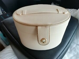 Paco Rabanne LADY MILLIONS Vanity Case in Cream Gold Trim Faux Leather NEW