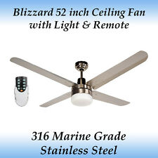 Blizzard 52 inch Marine Grade Stainless Steel Ceiling Fan with Light and Remote