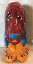 "Mexican Folk Art ~ Talavera Pottery ~ Garden Art 12"" Hound Dog Figure Droopy Dog"