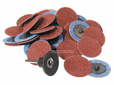 "50Pc 36 Grit 2"" Roloc Type R/O Roll On Lock Sanding Disc w/ Mandrel Made in USA"
