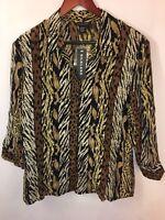 NWT Women's Sz XL Leopard Print 100% Silk Long Sleeve Blouse
