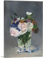 ARTCANVAS Flowers in a Crystal Vase 1882 Canvas Art Print by Edouard Manet