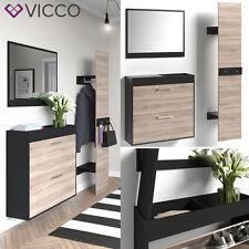 VICCO Flurgarderobe Schwarz / San Remo - Set: Spiegel + Schuhschrank + Paneel