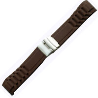 New Brown Rubber Curved Strap Band Watch 20mm Diver New Brown Silicone Clasp