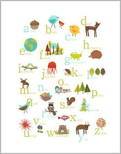Nursery Decor, Kid's Art Decor, Wall Art Print, Nature Themed English Alphabet