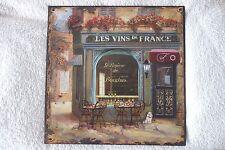 Blechschild Wandbild Bild Le Vins De France Retro Shabby Stil 30x30cm 4eckig NEU