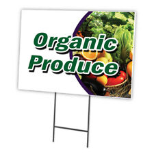 ORGANIC PRODUCE Yard Sign & Stake outdoor plastic coroplast window