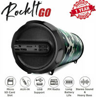 LOUD BLUETOOTH SPEAKER Portable Wireless Boombox FM Rechargeable Stereo Camo