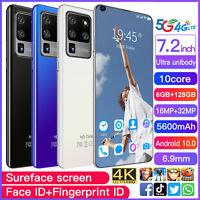 7.2 Inch Android Smartphone 6GB+128GB 10 Dual SIM 10-Core 5600mAh Mobile Phone