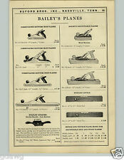 1927 PAPER AD Bailey Planes Corrugated Bottom Iron Wood Levels Barton Draw Knife