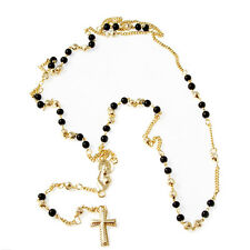 Gold Layered Rosary with Arranged Black Beads - Style2