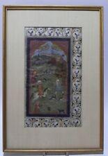 """☛ Alte indische Seidenmalerei """" Jagd Motiv """" gerahmt um 1900  ☚"""