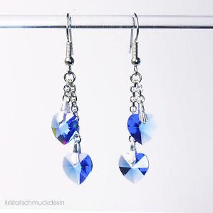 Herz - Ohrhänger saphir - Kristalle von Swarovski ®