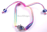 Hamsa Colorful Silver Bracelet Evil Eye Charm Kabbalah Hand Of Fatima Judaica