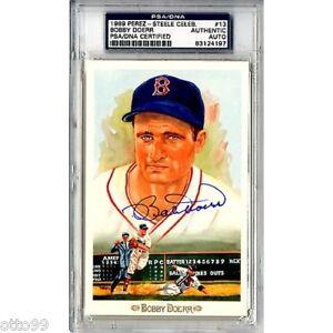 BOBBY DOERR SIGNED PEREZ STEELE BOSTON RED SOX PSA/DNA SLABBED #08271 POST CARD