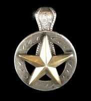 """Western Jewelry Cowgirl/Cowboy 1 1/2"""" Raised Gold Star Concho Pendant Kit"""