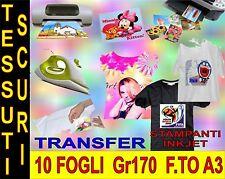 10 PEZZI  A3 42 X 29,7 170 GR TRANSFER X COTONE SCURO STAMPANTE INKJET MAGLIETTE