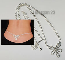 Sparkly Rhinstone Gem Butterfly Midriff Waist Body Chain. Any Size up to 40 inch