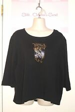 ISAAC'S DESIGNS ~ Black Combed Cotton Embellished Top Sz XL * VERY GOOD COND.