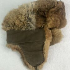 Vintage French Rabbit Fur Hat North King Insulated Winter Ear Flaps Trapper M