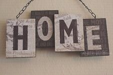 Shabby Chic Home 3D Blocks Wall Plaque Sign Black & Cream Wooden 24cm SG1449