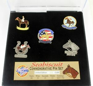 Seabiscuit Five Pin Collector Set - Limited Edition 1,000 - Horse Racing Pin Set